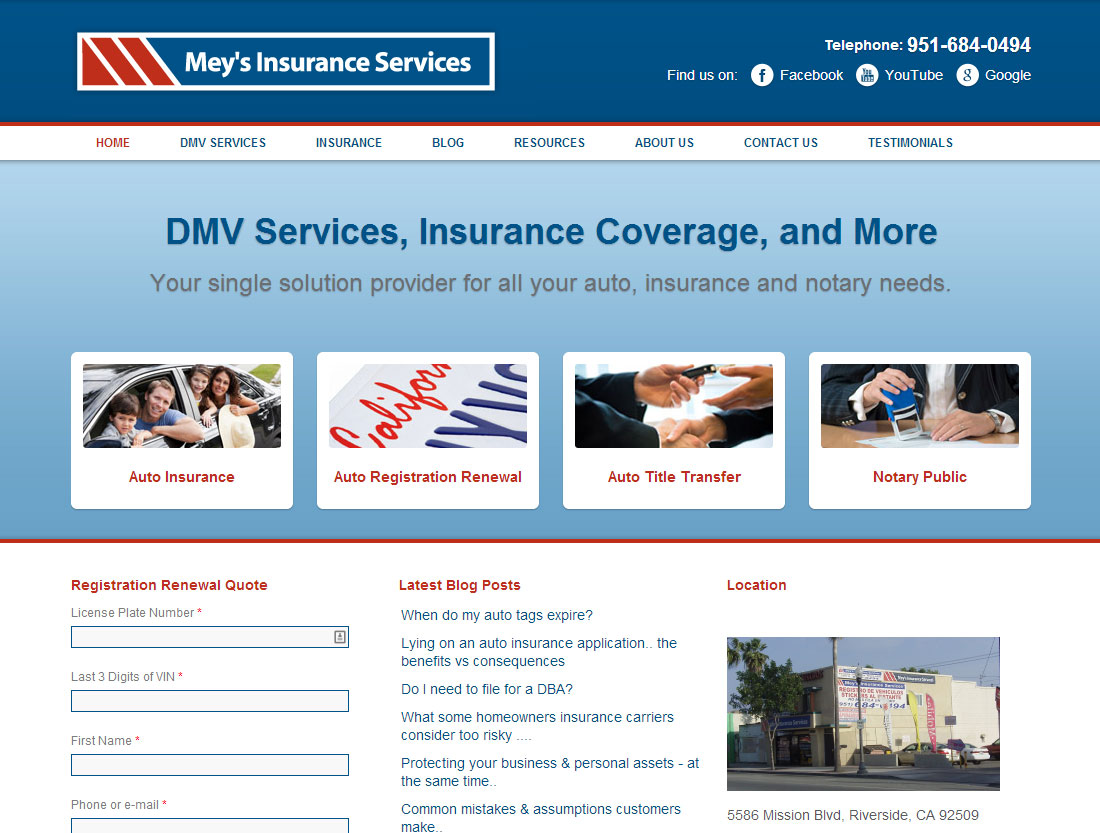 Mey's Insurance Services website