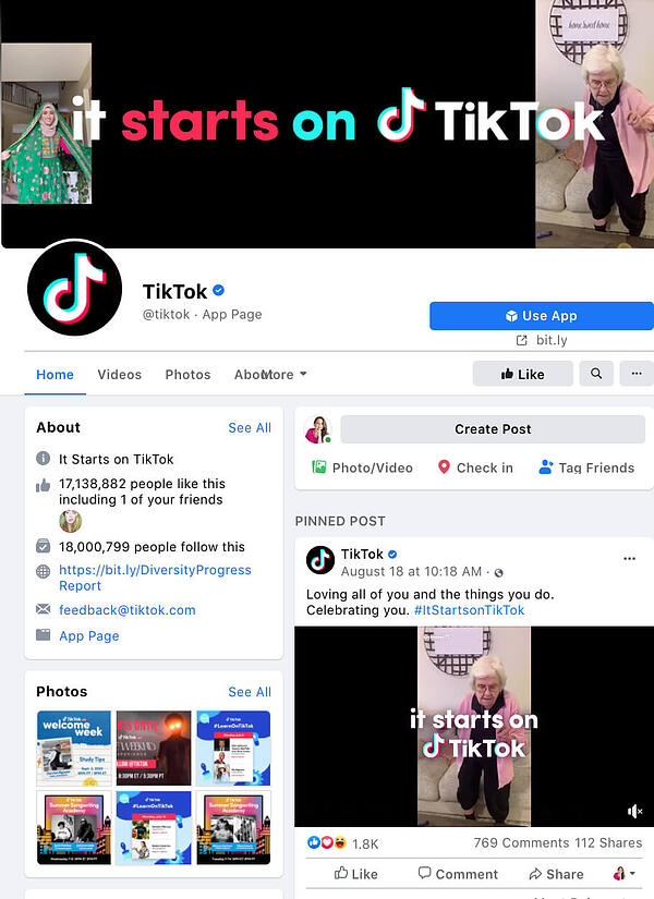Social Media TikTok Facebook Image