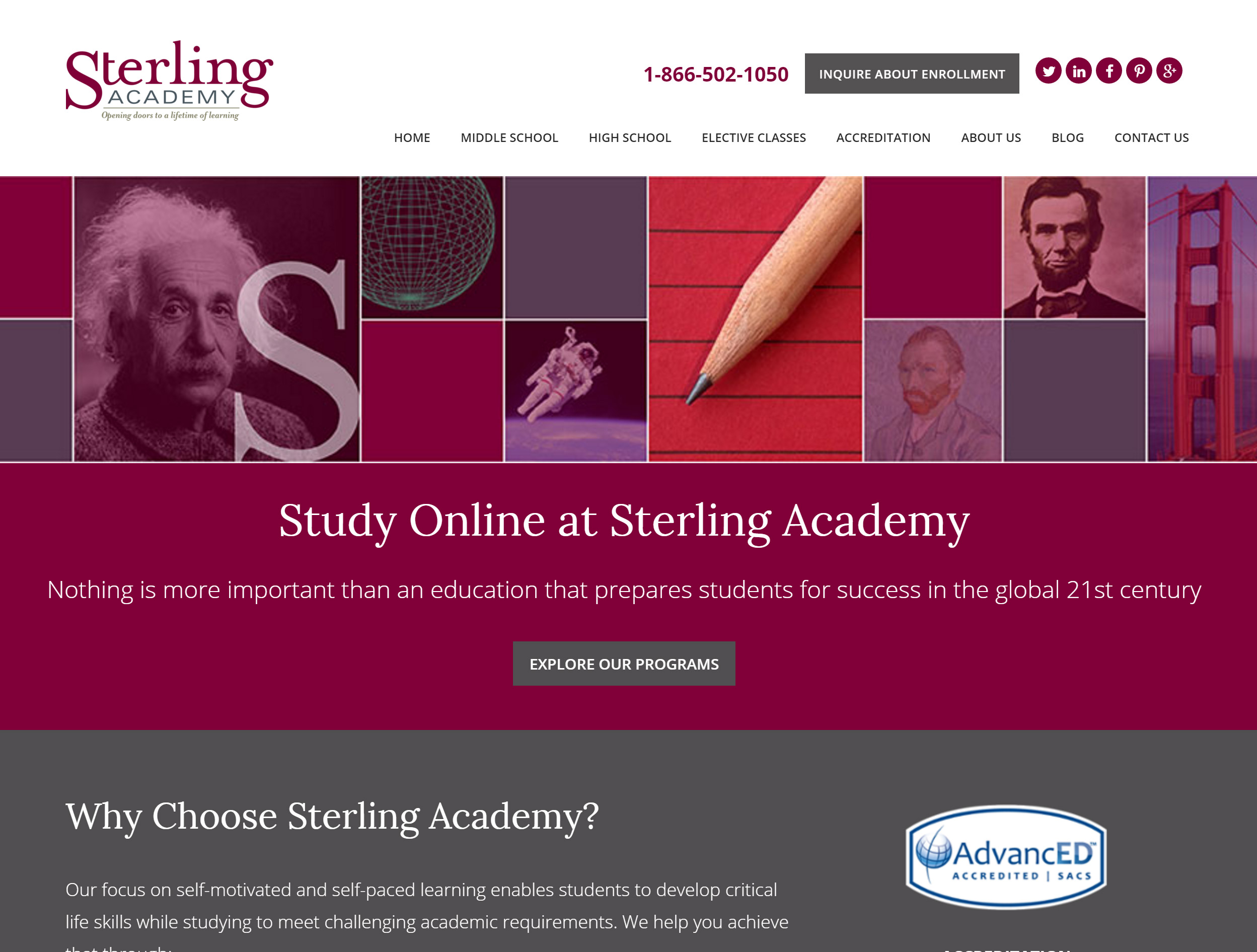 Sterling Academy website